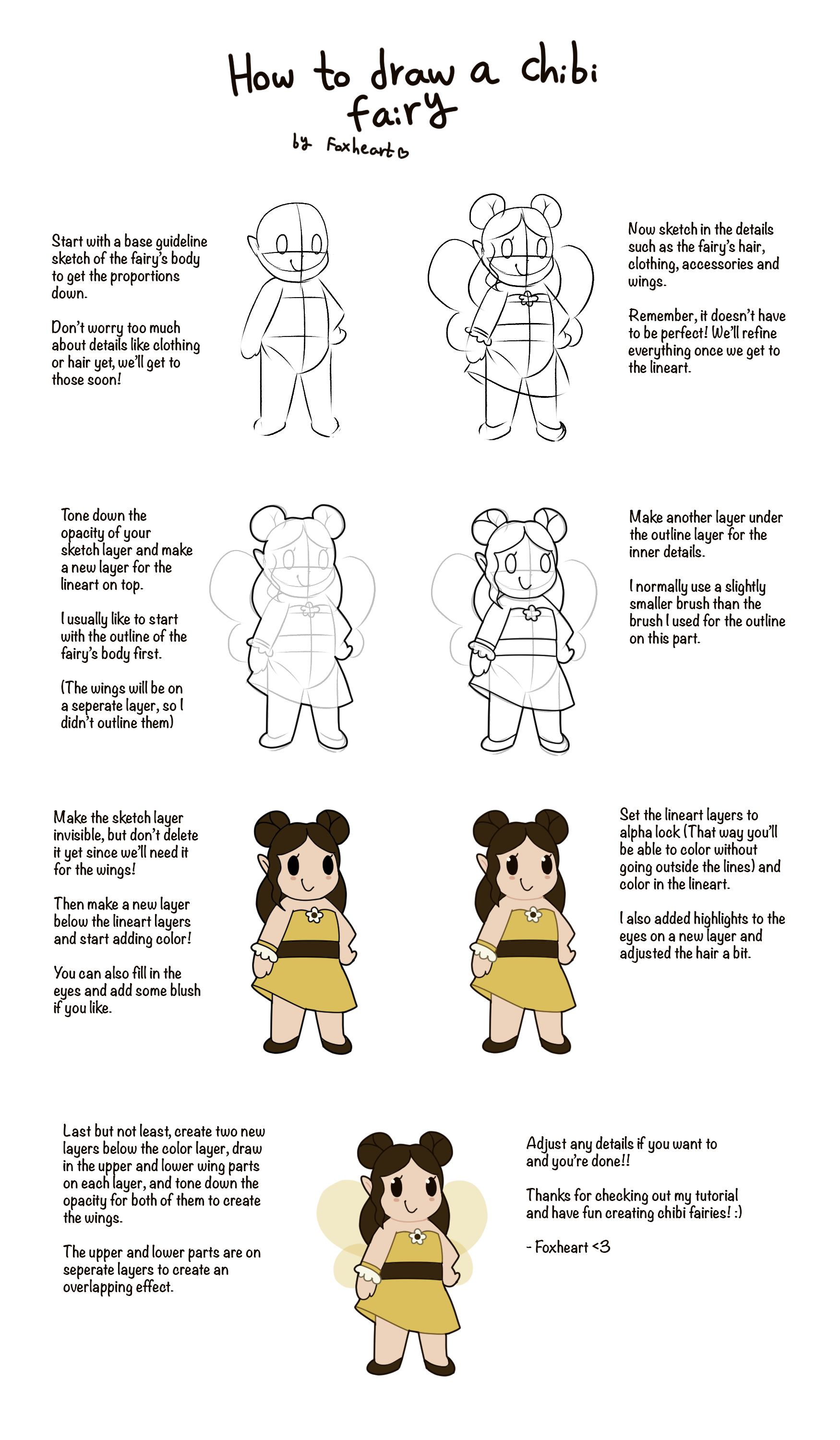 How to draw a chibi fairy tutorial