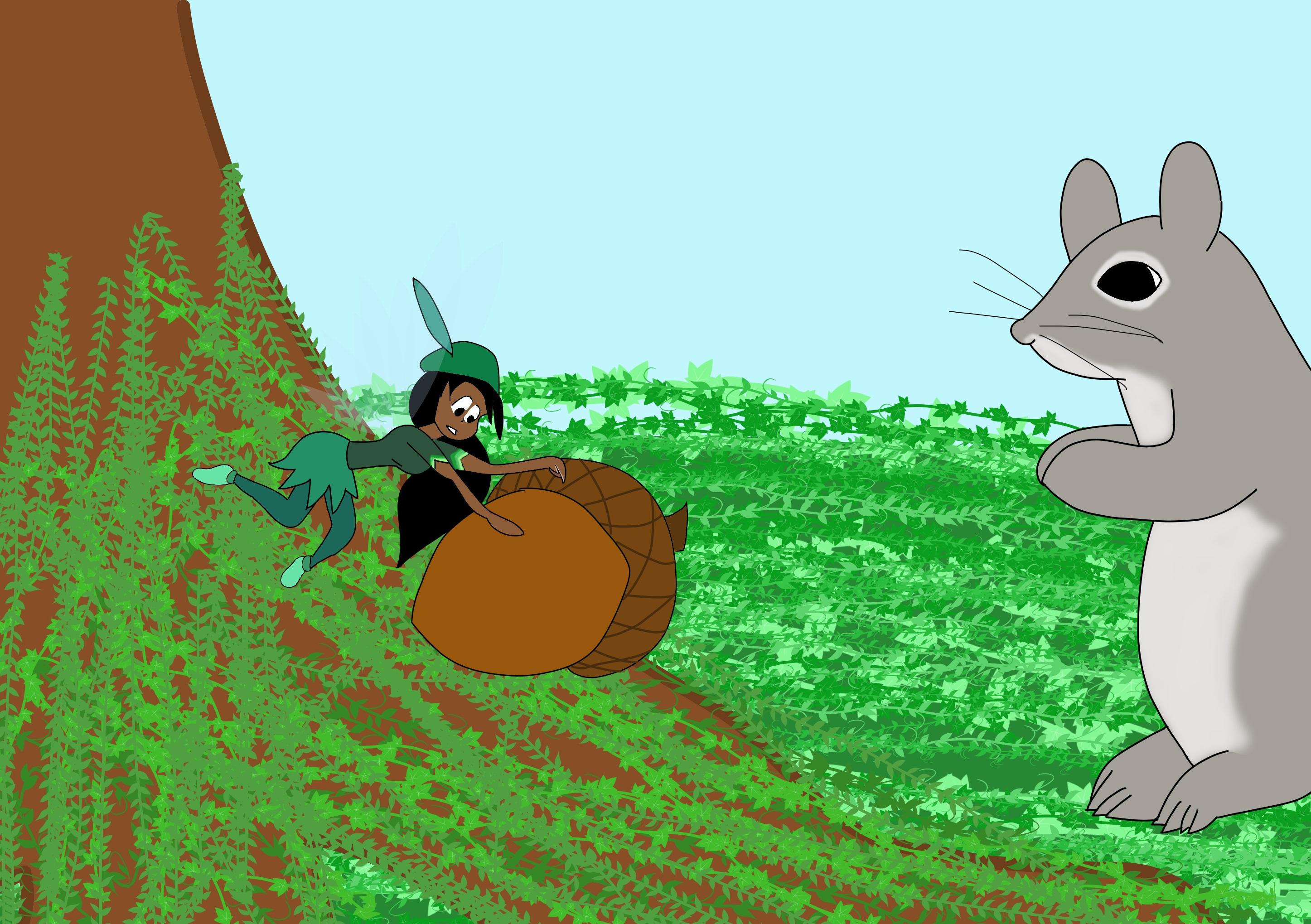 Daylily rolls a brown acorn to a grey squirrel.jpg
